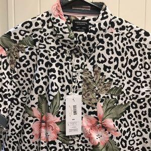 Leopard and floral print button down shirt